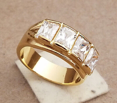 Men's Yellow Gold Plated 4 Clear Baguette CZ's Band Ring Size 12.5 New