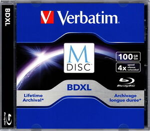 1 Verbatim M-Disc Blu-ray BD-R XL 100GB 4x Rohling Jewelcase