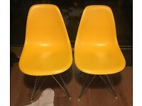 2 Eames Style Chairs. Bright Yellow- Perfect Condition. £70 for the pair!