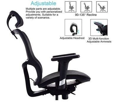 Ergonomic Office Chair With Elastic Mesh Breathable Cushion New