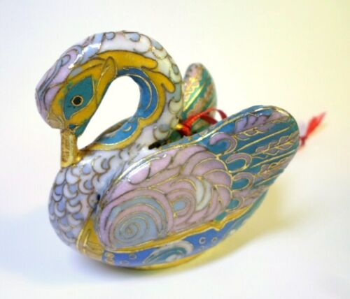 "Vintage CLOISONNE SWAN FIGURINE Ornament Wings Out Multicolor Enameling 3"" Tall"