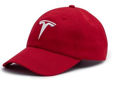 (Embroidered TESLA  car Logo Baseball Cap Hat Sport Racing red Model S Adjustable)