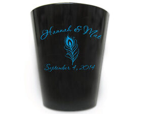 120-PERSONALIZED-Peacock-Feather-Wedding-FAVOR-Shot-Glasses-Custom-Wedding-Logo