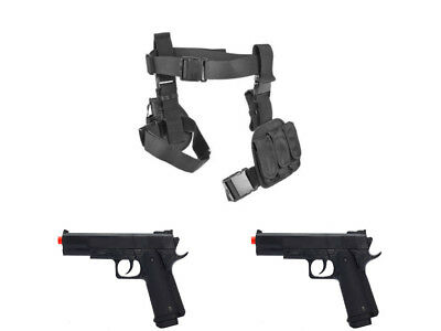 Halloween 3Pc Drop Leg Pistol Gun Holster Magazine Pouch 2 Prop Guns Blk CV2908