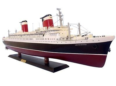 Ss United States Cruise Ship Ocean Liner 50  Wood Model Led Lights  Assembled