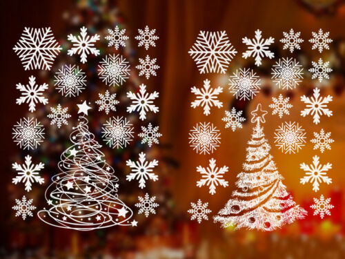Home Decoration - Reusable Christmas Window Clings Stickers 36 Snowflake 2 Trees Vinyl Decal Decor