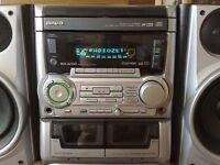 Aiwa NSX-AV540 stereo with 3 CD auto-changer, AM/FM tuner with 32 station presets & 2 cassette decks