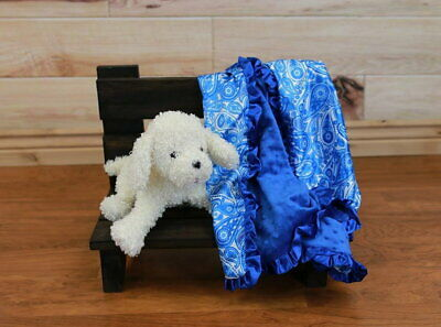 NEW minky Nursery Baby receiving Blanket Satin Ruffle blue boy paysley -