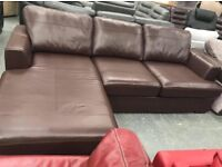 Left hand facing brown leather chaise sofa
