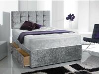 🎆💖🎆GET IT TODAY🎆💖🎆CRUSH VELVET DOUBLE DIVAN BED + SEMI ORTHOPEDIC MATTRESS