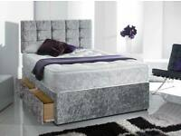 Massive Saving-Single, Double and King Size Crush Velvet Divan Bed Base in Silver Color