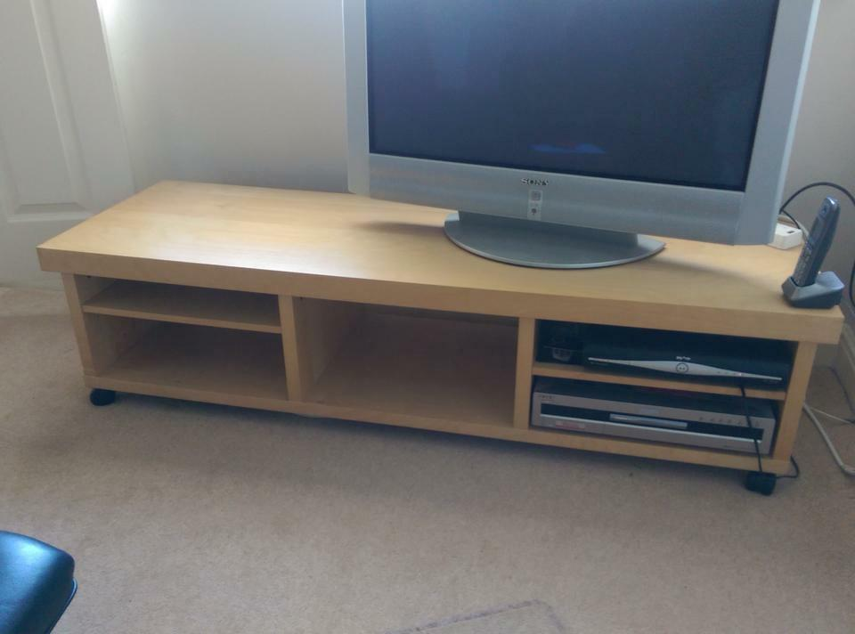Ikea wide tv stand with wheels veneer good condition - Console bureau ikea ...