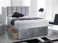 SPRING SLAE ONLINE-Single, Double and King Size Crush Velvet Divan Bed Base-Color opt