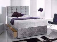 Best Selling Crush Velvet Divan bed Base in Silver Black Color