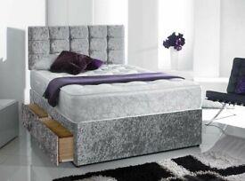 ☀️☀️SHORT-TERM PRICE DROP☀️☀️CRUSHED VELVET DIVAN BED BASE SINGLE/DOUBLE/KING SIZE DIFF MATRESSES