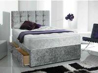 ⭐️🌟✨Spring Sale On⭐️🌟✨DOUBLE/KING SIZE CRUSH VELVET DIVAN BED BASE W OPTIONAL MATTRESS & HEADBOARD