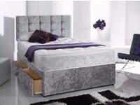 Crush Velvet Divan bed Base in Silver Black Color optional mattress and headboard