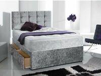 🎆💖🎆CASH ON DELIVERY🎆💖🎆 CRUSH VELVET DOUBLE DIVAN BED + SEMI ORTHOPEDIC MATTRESS