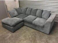 Brand new jumbo cord grey dylan corner sofa L shape sofa set /sofa bed available