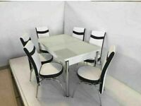 💥💥COLOURFUL DESIGN SALE 🔥🔥ON WHITE GLASS EXTENDABLE DINING TABLE WITH 6 CHAIRS
