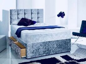 **NEW*DOUBLE CRUSHED VELVET 2 STORAGE DRAWERS /MATCHING DIAMANTÉ HEADBOARD AND A THICK 2000 SPRUNG