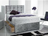 BRAND NEW DOUBLE CRUSH VELVET DIVAN BED BASE + SEMI ORTHOPAEDIC OR DEEP QUILTED MATTRESS