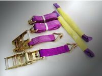 HEAVY DUTY RATCHET STRAPS 50MM RECOVERY TIE DOWN STRAPS WITH HOOKS SET OF TWO 5000KG RATING
