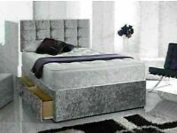 🔵💖🔴EXCELLENT QUALITY🔵💖🔴CRUSHED VELVET DIVAN BED BASE SINGLE/DOUBLE/KING SIZE DIFF MATTRESSES