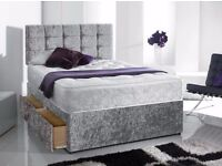 DOUBLE CRUSHED VELVET DIVAN BED BASE WITH MATTRESS - SINGLE/KING SIZE BRAND NEW - EXPRESS DELIVERY