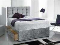 ☀️💚☀️DIFFERENT SIZES & COLORS☀️💚☀️ CRUSH VELVET DOUBLE DIVAN BED + SEMI ORTHOPEDIC MATTRESS