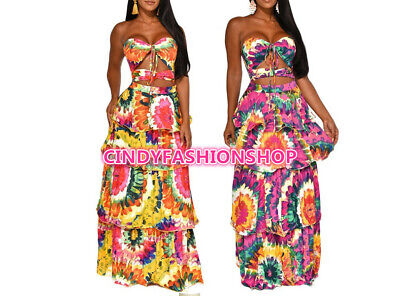 Cake Dresses (Women Tie Dye Print Vintage Strapless Cake Cut Out Cascading Party Long)
