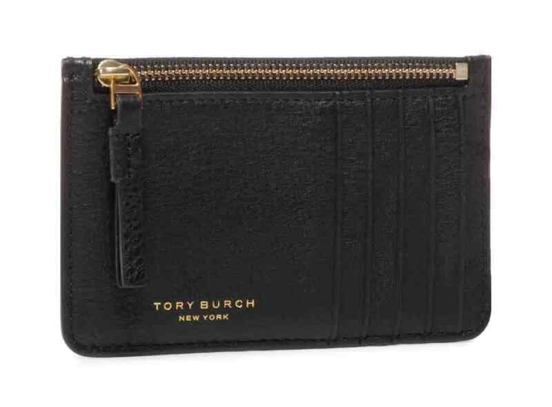 Tory Burch Perry Top-Zip Card Case- Black 61075-001
