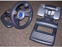 Saitek R440 Steering Wheel controller with force feedback, and pedals for PC