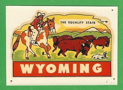 "VINTAGE ORIGINAL 1951 SOUVENIR ""WYOMING"" THE EQUALITY STATE TRAVEL WATER DECAL"