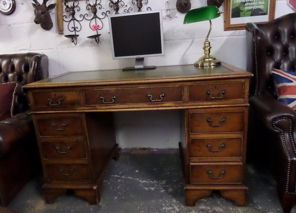Stunning Chesterfield Leather Top Double Pedestal Captains Desk - UK  Delivery - Stunning Chesterfield Leather Top Double Pedestal Captains Desk - UK