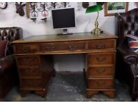 Stunning Chesterfield Leather Top Double Pedestal Captains Desk - UK Delivery