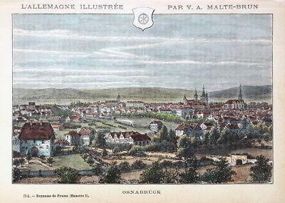 Osnabrück, Totalansicht. Handkolorierter Stich um 1885, Malte-Brun