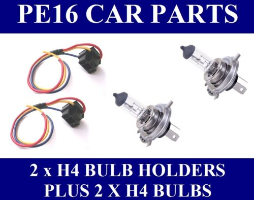 Replacement H4 Bulb Holders x 2 With leads Plus 2 x H4 Bulbs (BCH4x2 + H4x2)