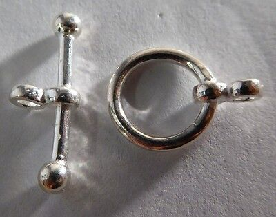 Silver Balls Decor (Solid Sterling Silver 925 Toggle Clasp 11mm Circle 19mm Bar With Decorative)
