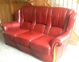 Red Leather Sofa in Good Condition