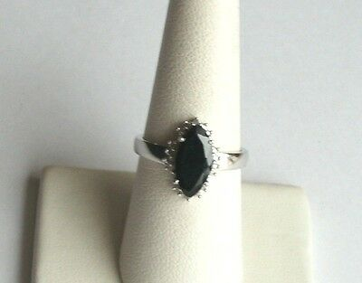 (.925 Sterling Silver, Black SAPPHIRE/Diamond Accent Ring, Size 6 3/4, New)