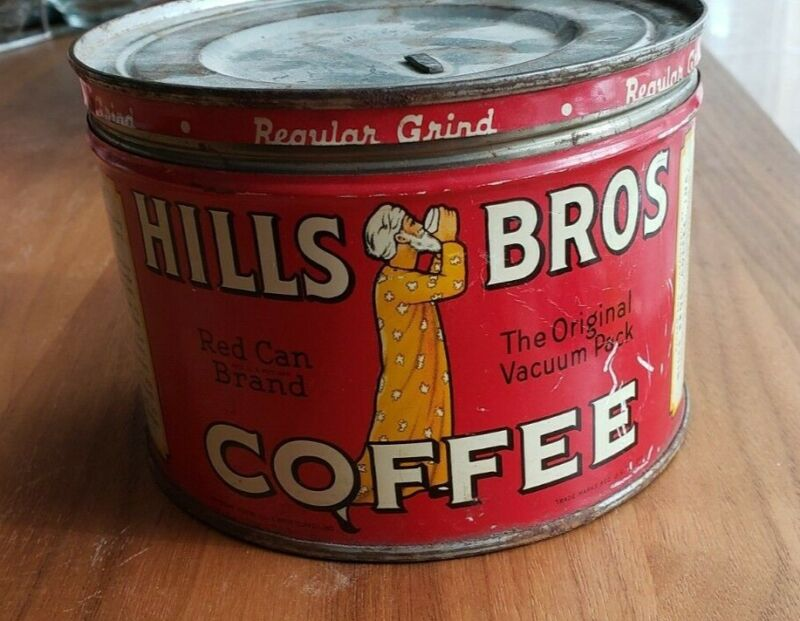 Vintage Hills Bros Brothers 1/2 LB Coffee Can Tin Advertising, Copy right 1939