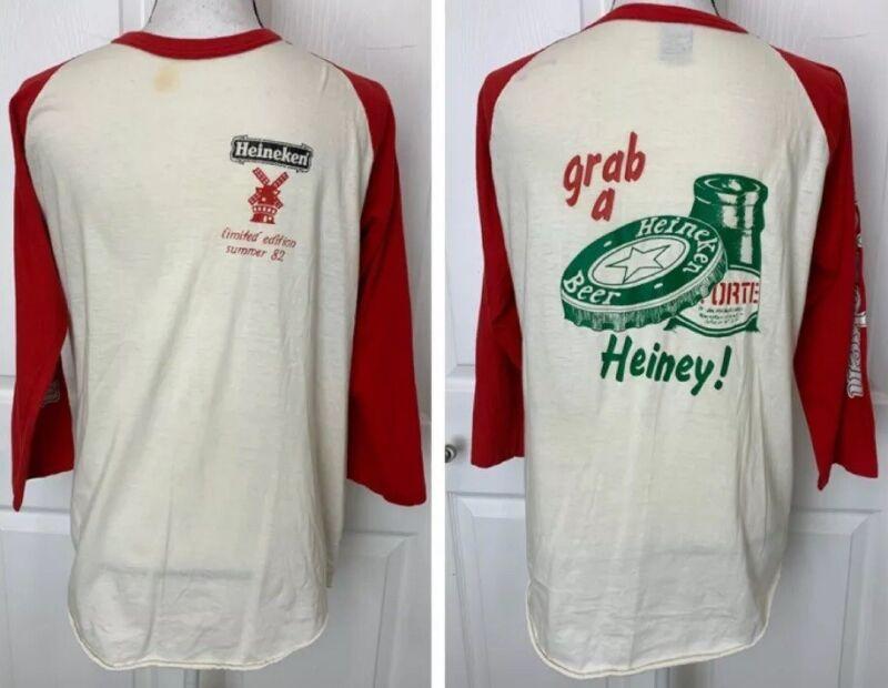 HEINEKEN BEER Vintage 1982 Men's XL Raglan Baseball Style Shirt Limited Large???