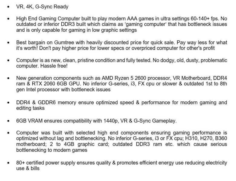 New Built 6-Core VR Gaming PC Ryzen 5 2600, RTX 2060, 16GB