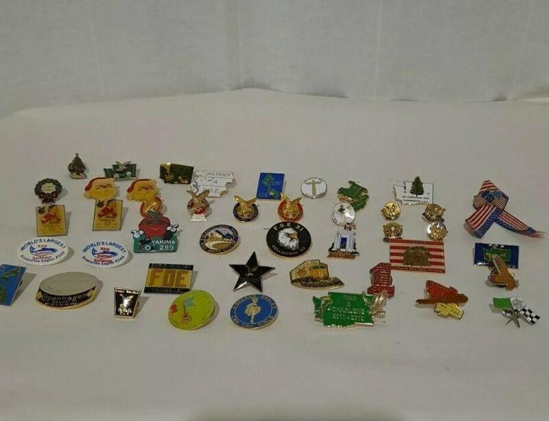 Lot of 44 Vintage Eagles F.O.E. Lapel Hat or Vest Pins