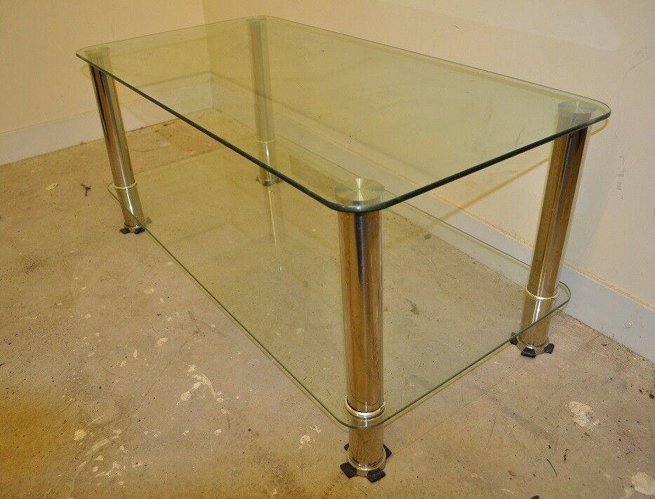 Occasional Table Glass And Chrome Modern Style Bristol