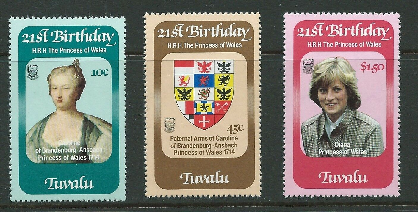TUVALU SG184/6 1982 BIRTHDAY OF PRINCESS DIANA MNH
