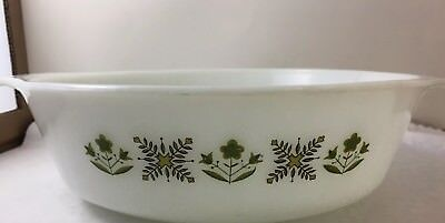 Anchor Hocking Fire King Meadow Green 2 Quart Casserole Dish Vintage