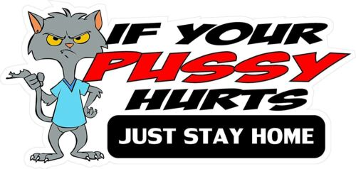 3 If Your Pussy Hurts Just Stay Home Sticker Helmet/Hard Hat/Motorcycle Sticker