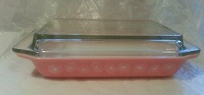 Vintage JAJ Pyrex Pink Daisy Spacesaver Casserole Rectangular Dish & Lid